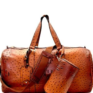 Multicolor Ostrich Print Vegan Leather Extra Large Satchel Zipper Tote Handbag