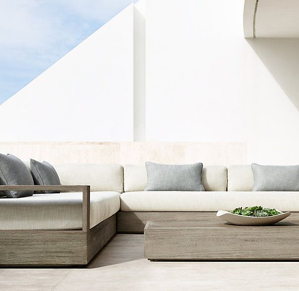 Marbella Teak Classic Two Seat Left Right Arm Sofa Cushions With