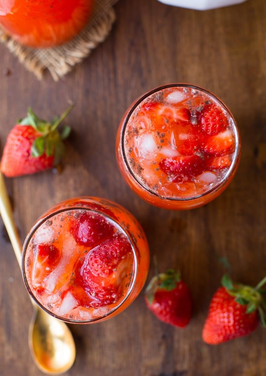 Healthy Strawberry Lemonade with Chia Seeds Strawberry