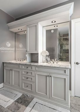 Applied Mouldings To Cabinet Doors Love The Gray Walls White Cabinets Gray Flooring R Master Bathroom Decor Cheap Bathroom Remodel Bathroom Remodel Shower
