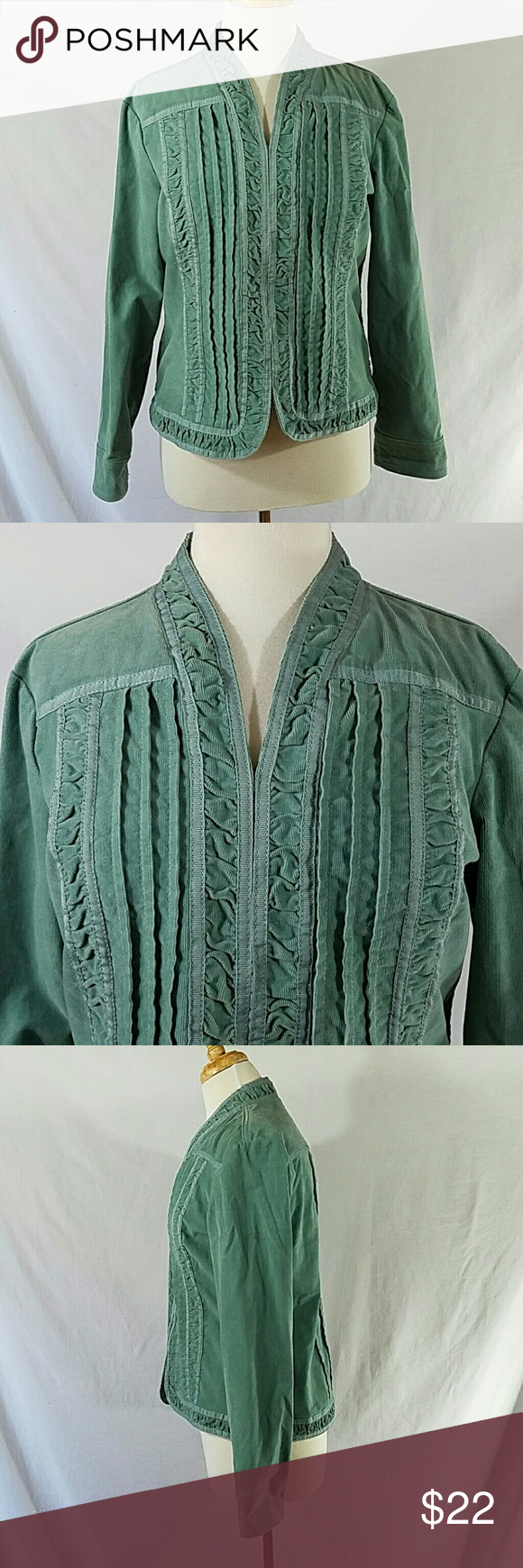 Chico's Corduroy Dusty Turquoise Jacket Size 1 (M) Dusty Turquoise Corduroy 6 hook & eye closures on front Bust is 40 inches Sleeve Length is 23 inches Length of jacket is 23 inches Body is 98% Cotton & 2% Spandex Trim is 100% Polyester Chico's Jackets & Coats