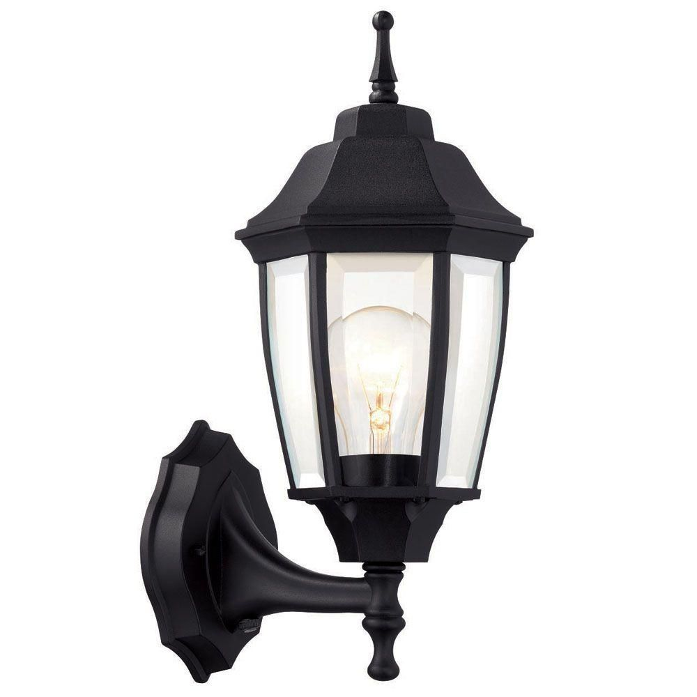 Hampton bay 1 light black dusk to dawn outdoor wall for Outdoor home lighting fixtures