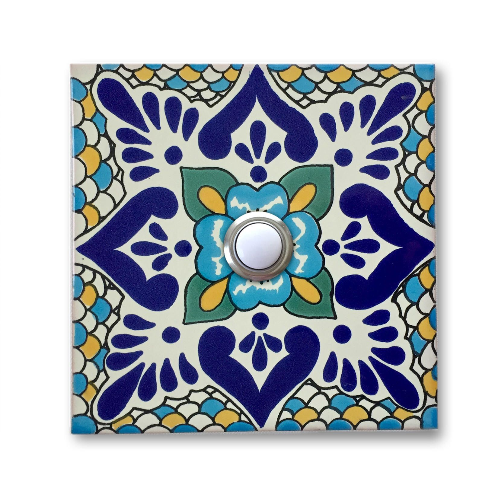 Doorbell 4x4 handcrafted ceramic tile cover with lighted button doorbell 4x4 handcrafted ceramic tile cover with lighted button 4 x 4 by chasealexanderdesign dailygadgetfo Images