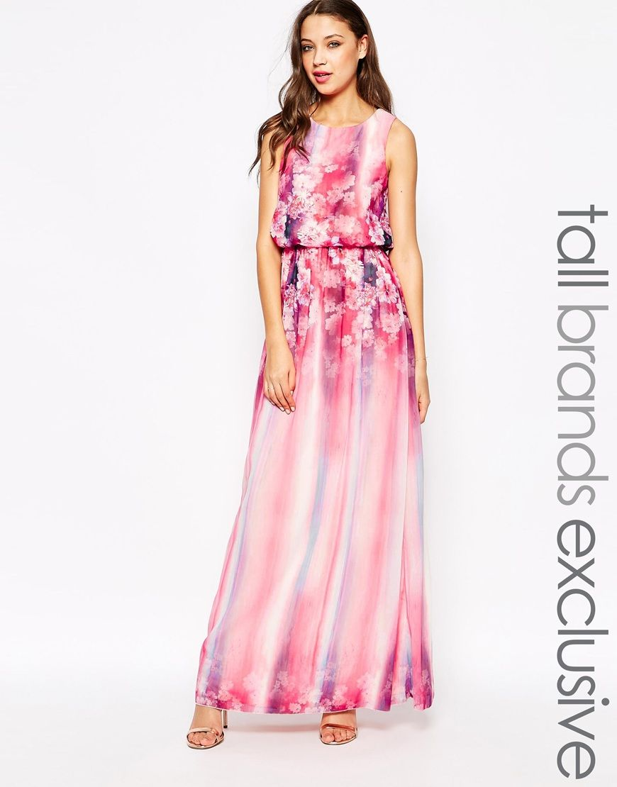 681e919f3dccbc Image 1 of Little Mistress Tall Floral Printed Maxi Dress With Keyhole Back