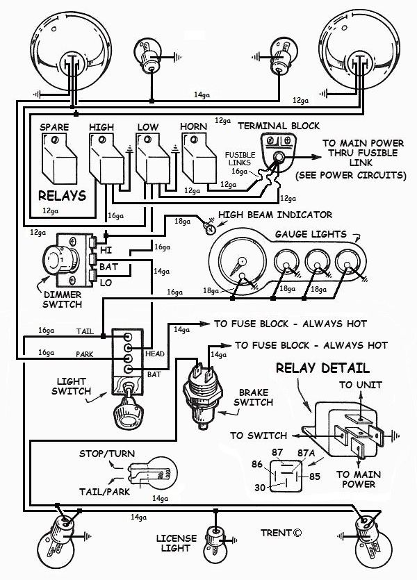 wiring hot rod lights hot rod car and truck tech pinterest rh pinterest com Hot Rod Electric Fan Wiring Diagram hot rod wiring diagram