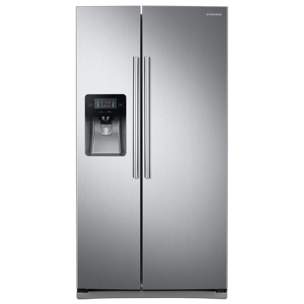 Samsung 24 5 Cu Ft Side By Side Refrigerator In Stainless Steel Rs25j500dsr Stainless Refrigerator Side By Side Refrigerator Stainless Steel Refrigerator