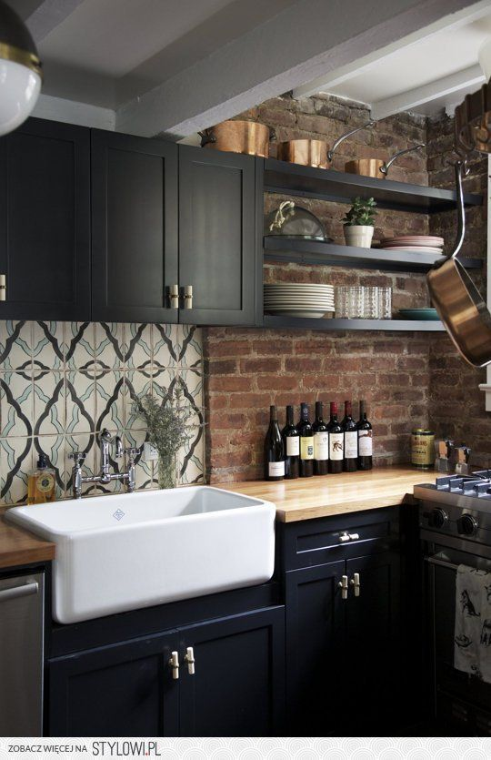 Beau Rustic Kitchen // Farm Sink, Decorative Tile, Exposed Brick U0026 Dark Cabinetry