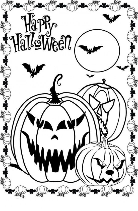 Scary Halloween Coloring Pages Picture 7 550x841