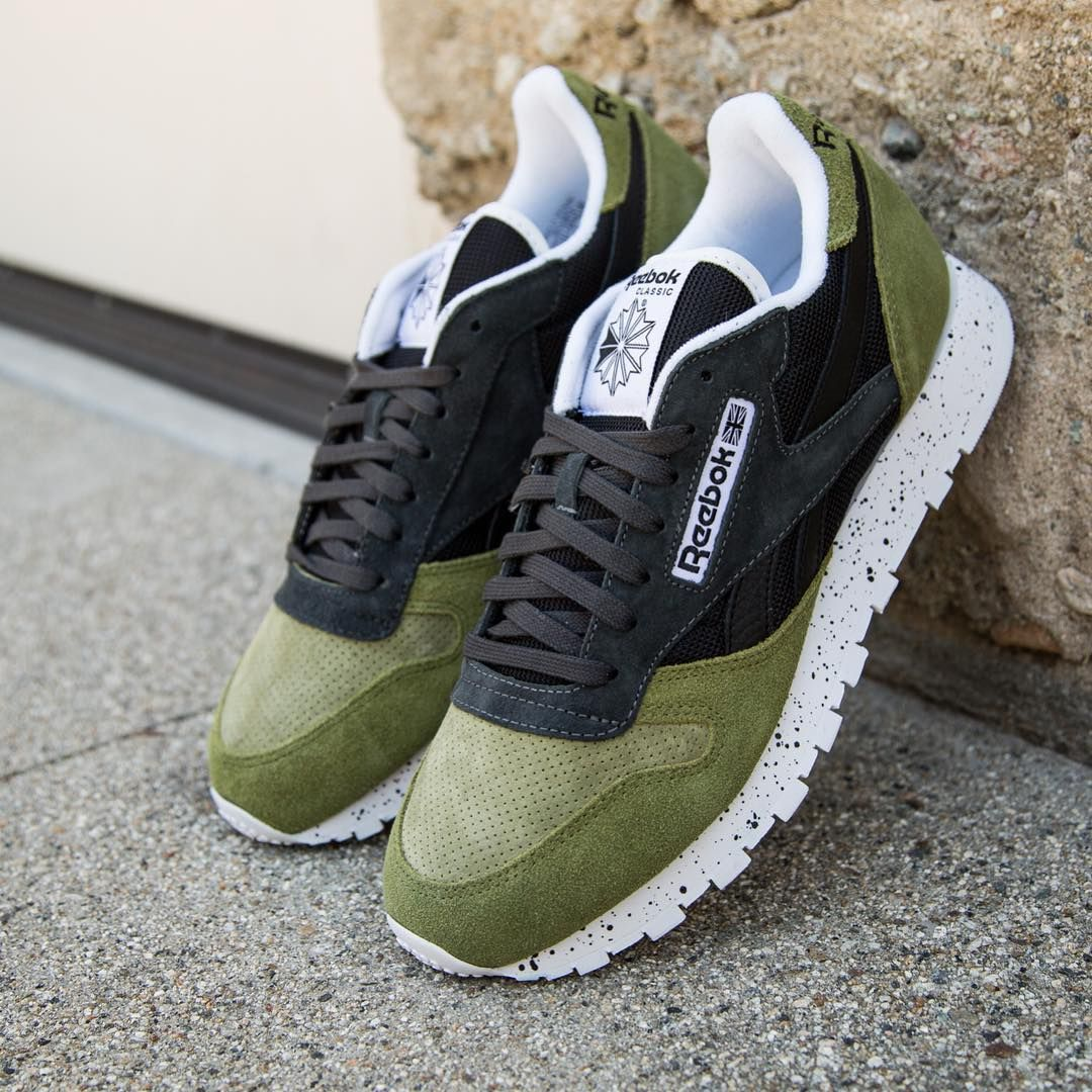 Reebok Classic Leather SM  Olive Black  e124b3f11