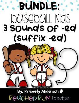 BUNDLE Baseball Kids Three Sounds of ed suffix ed 2 Activities