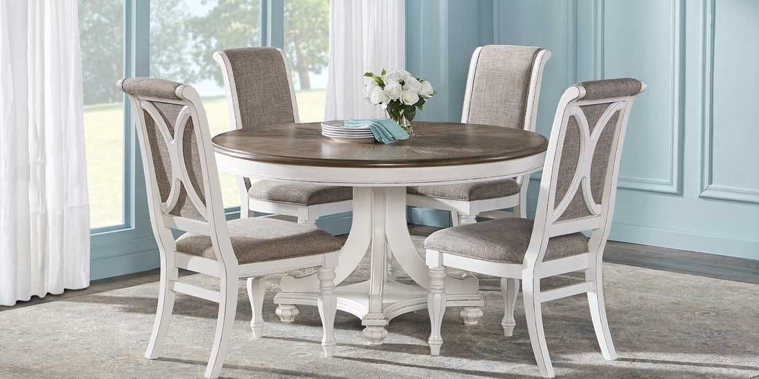 French Market White 5 Pc Round Dining Room Rooms To Go Round Dining Room Dining Room Sets Farmhouse Dining Room Table
