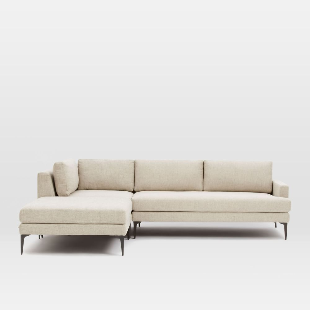Andes 3 Piece Chaise Sectional Cool Couches Modern Couch Metal