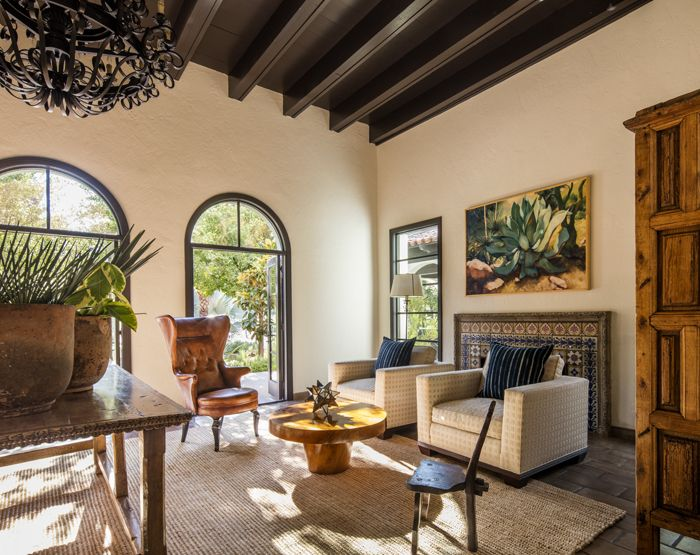 rustic Spanish Colonial antiques and contemporary furniture play