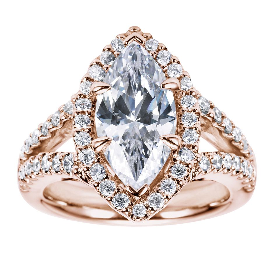 wedding ring settings Rose Gold Halo Engagement Ring Setting Marquise Cut 1 I think I just died went