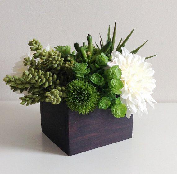 Photo of Artificial Succulent Planter / Floral Arrangement / Centerpiece / Faux Succulents / Plants / Green / Brown / White / Ivory / Dahlia