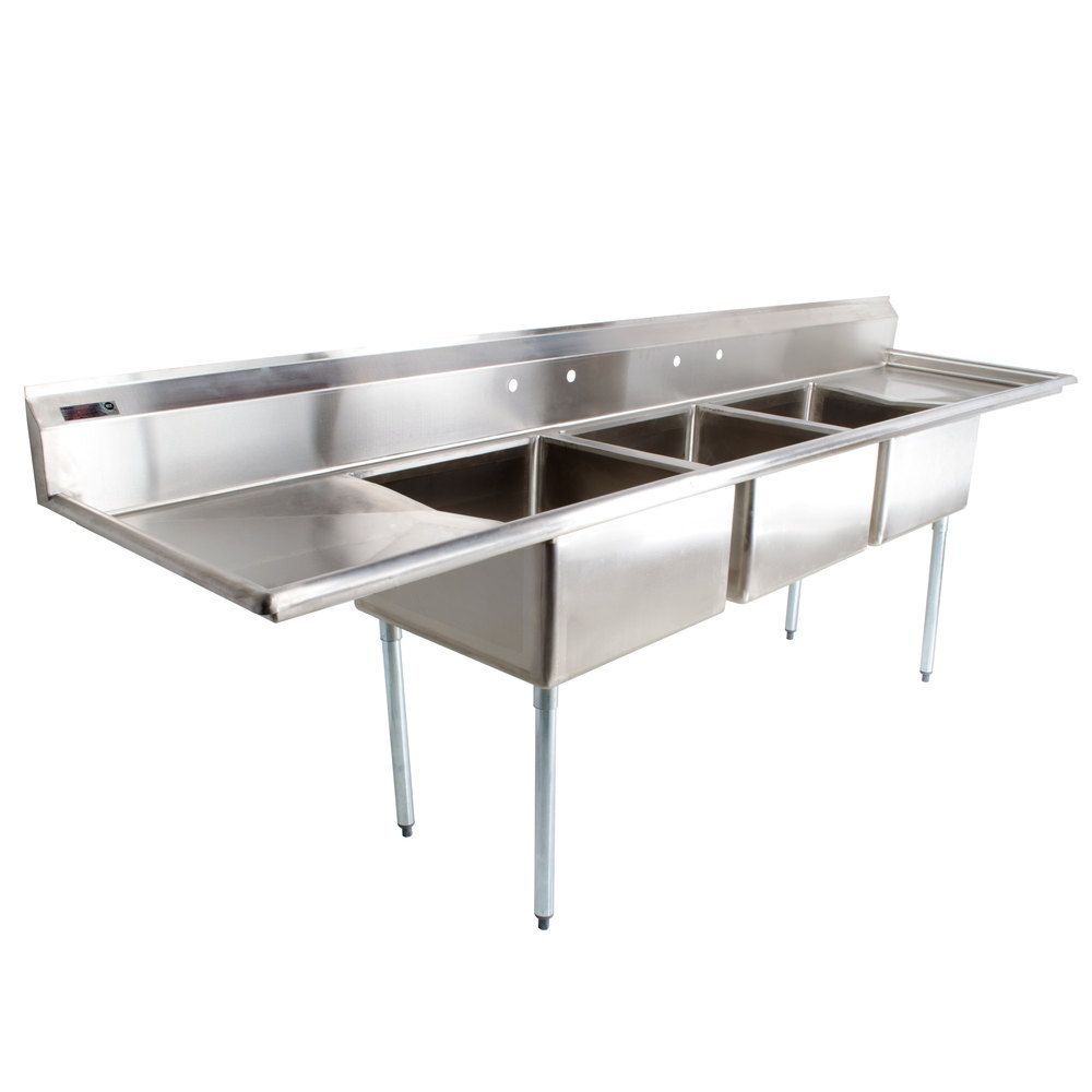 3 Compartment Commercial Stainless Steel Triple Sink Wash Basin Table Stainless Steel Kitchen Sink Kitchen Sink Undermount Stainless Steel Sink