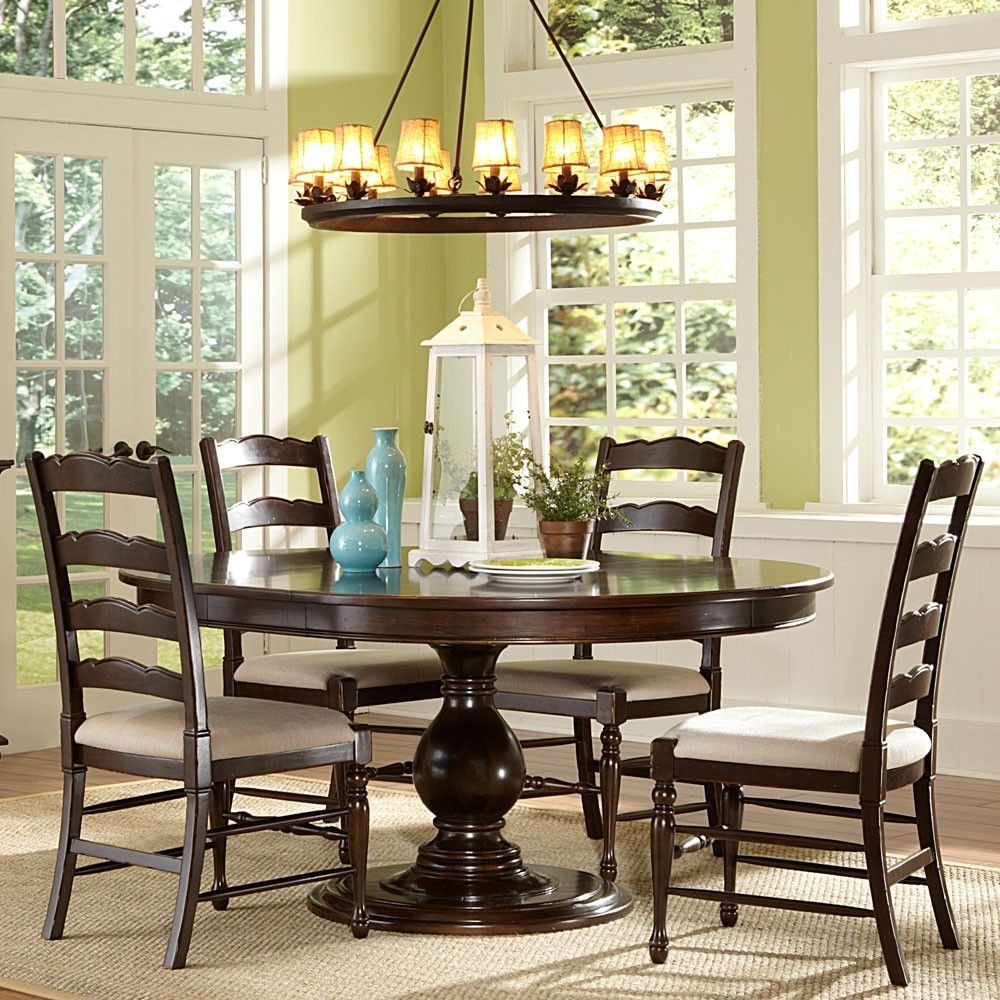 Round Cherry Kitchen Table Sets | Large round dining table ...