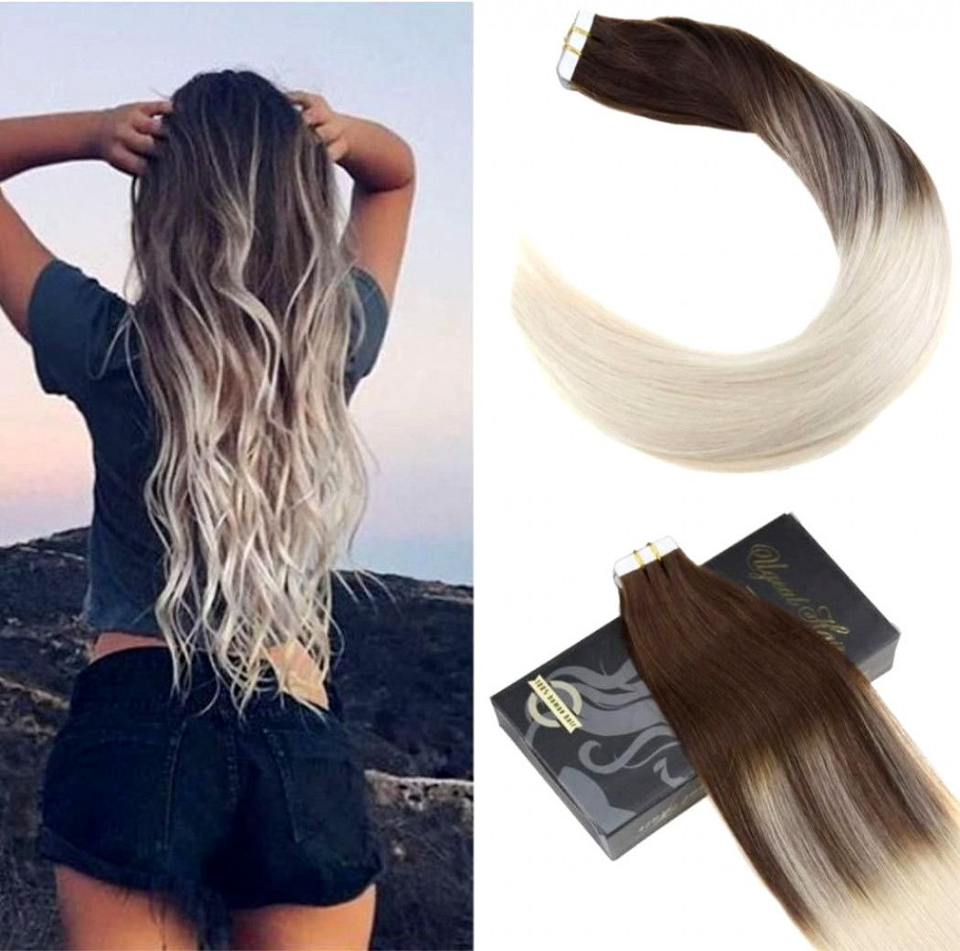New Color Ugea 20pcs Ombre Tape In Hair Extensions Dark Brown And Light Blonde Ugea Straightbundle Tape In Hair Extensions Ombre Hair Brown Hair Extensions
