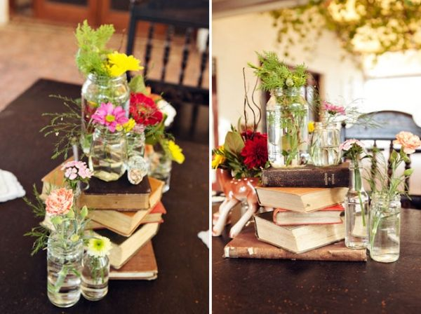 I used old books at a friends reception and they turned out beautifully.  Even better than this pic!