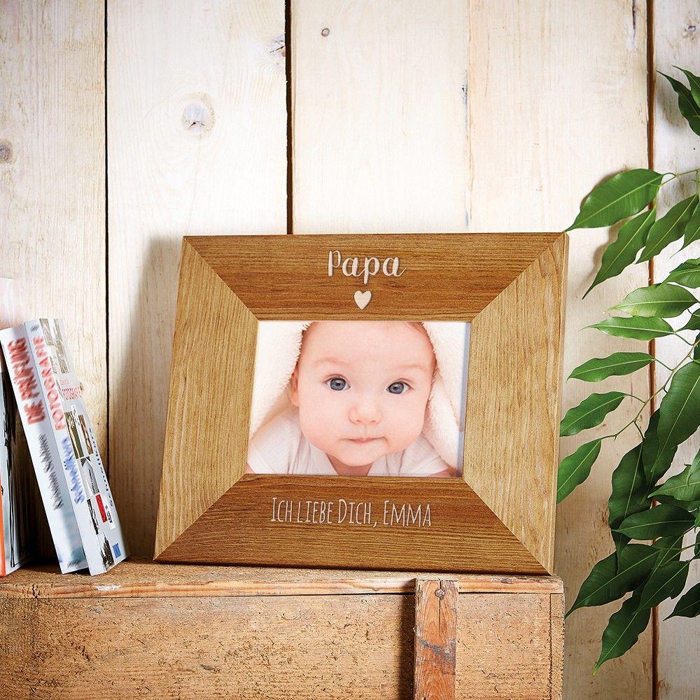 Bilderrahmen aus Holz mit Gravur für Papa - Herz - Personalisiert ...
