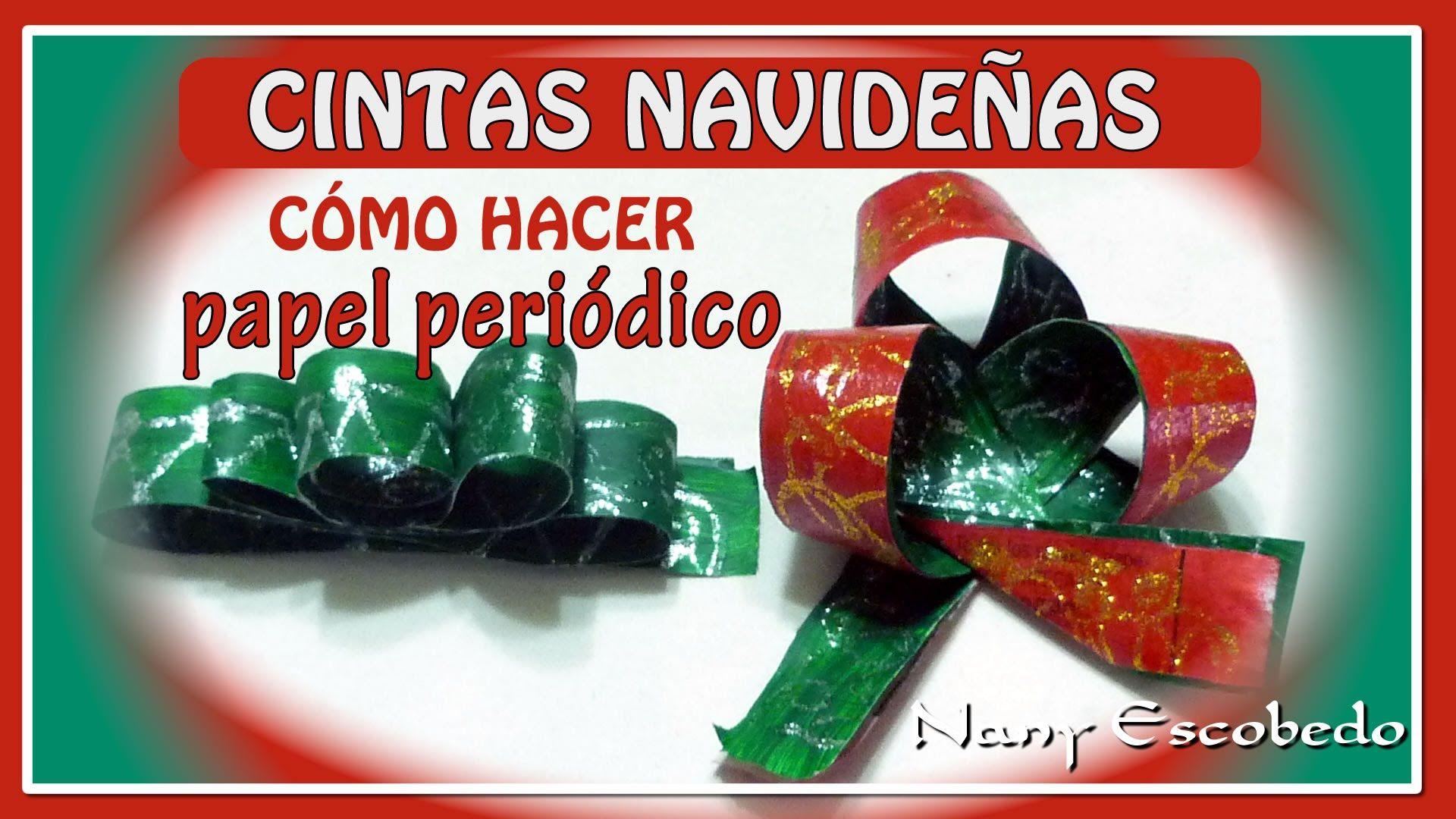 Cinta navide a con papel peri dico papel de periodico - Manualidades con papel navidenas ...