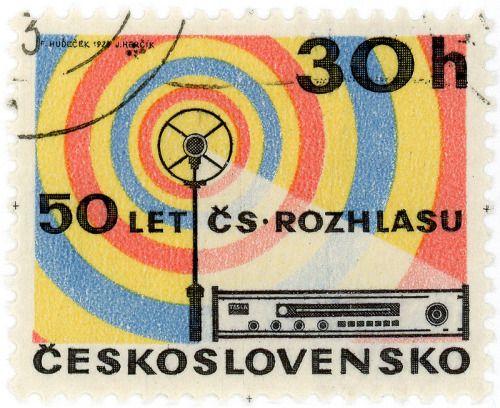 Czechoslovakia postage stamp: radio c. 1973 designed by F. Hudeček