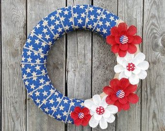 Photo of Items similar to Patriotic Sunflower, USA Pride, 4th of July Wreath, America Wreath, Sunflower Wreath, Red White & Blue Flower, Summer Wreath, Home Decor on Etsy