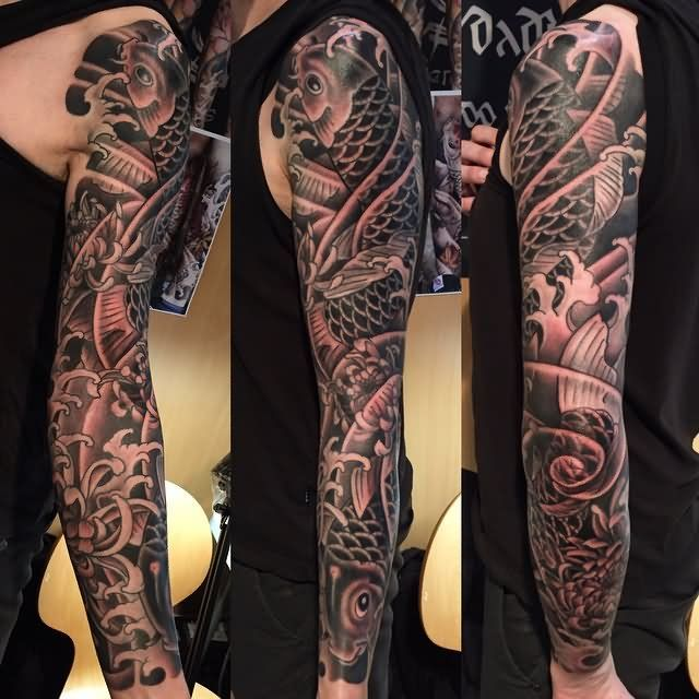 Black And Grey Koi Fishes Tattoo On Full Sleeve New Ink Tattoos