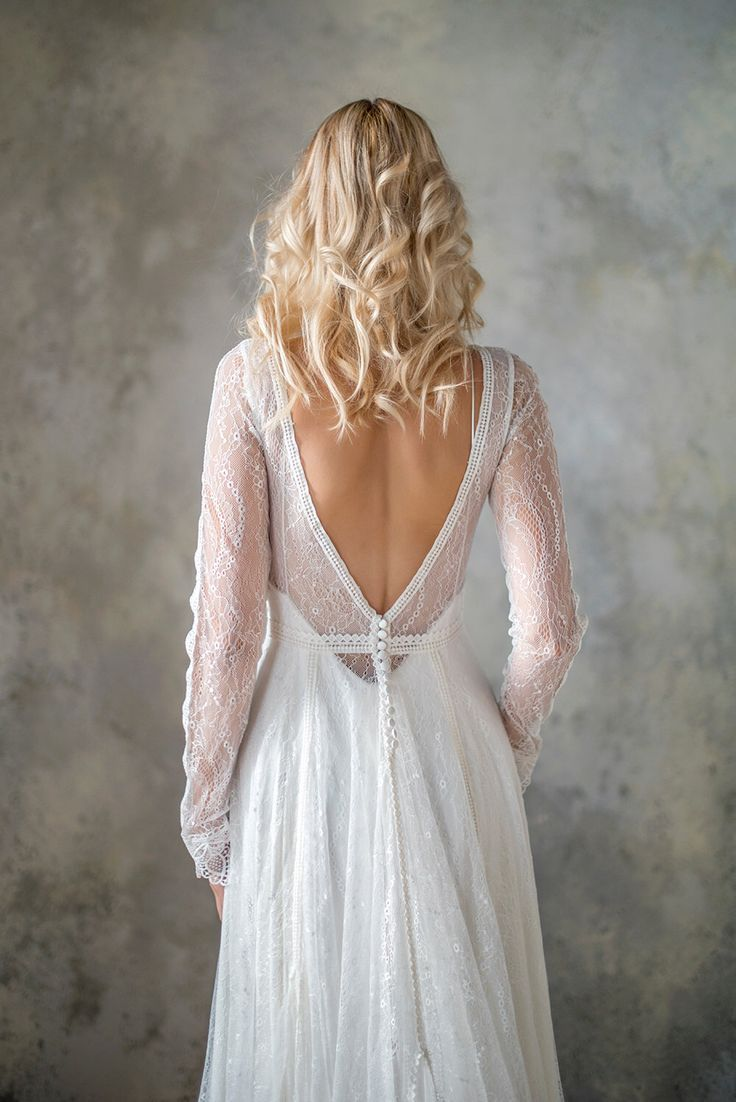 Long sleeve boho wedding dress bohemian wedding dress lace wedding