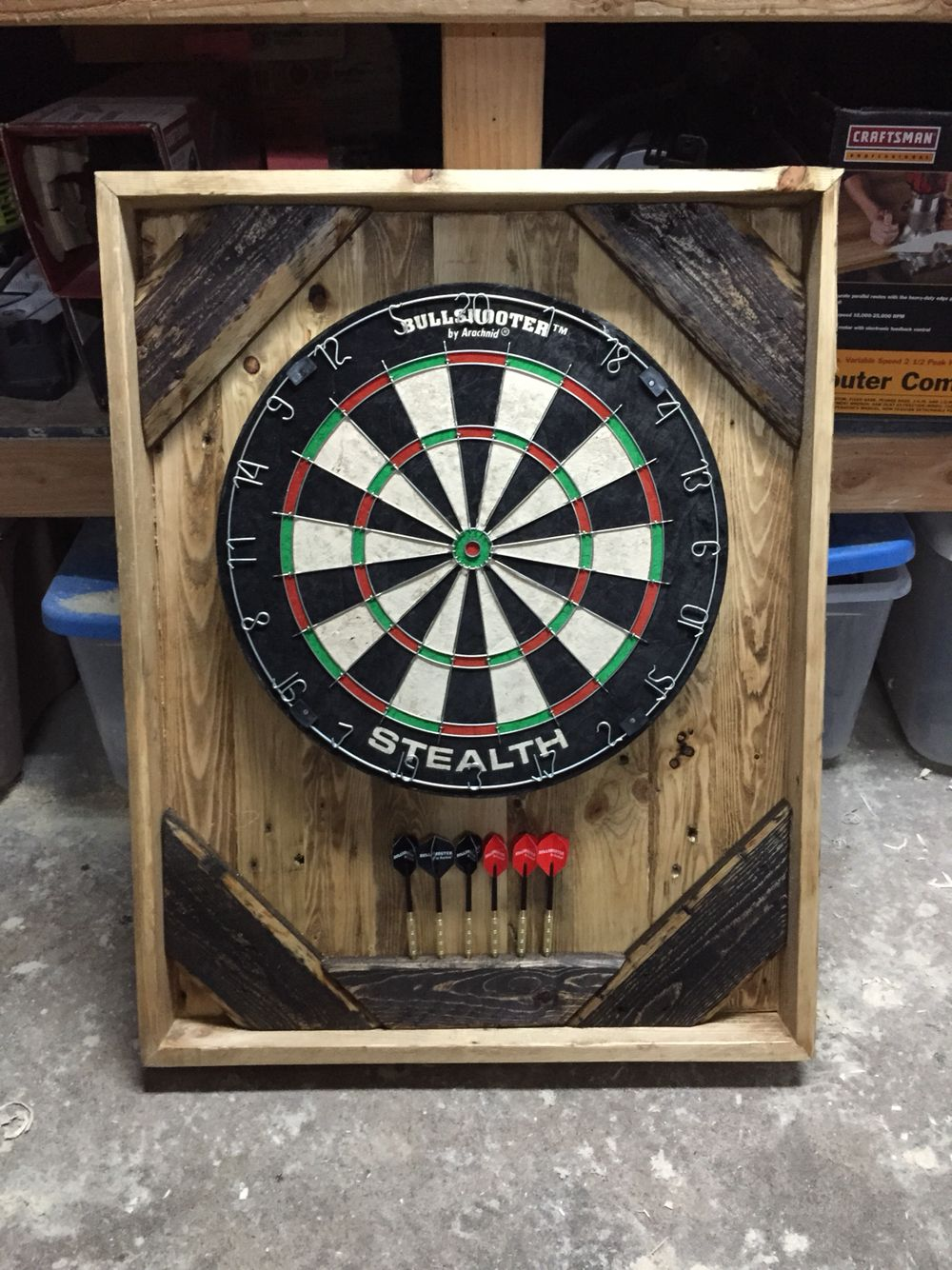 Dartboard Made From Pallet Wood Finished With Danish Oil And Minwax Jacobean Stain Wood Pallets Dart Board Wood Projects
