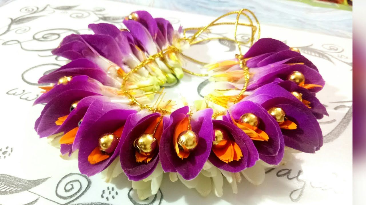 Bridal Jadai Venni With Orchid And Gerbera Flowers Youtube Wedding Flower Jewelry Bridal Hair Decorations Floral Accessories Hair