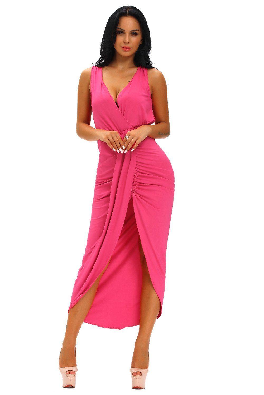 Rosy Draped Slit Front Maxi Dress ChicLike.com