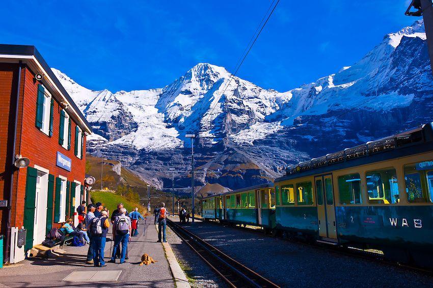 ungfrau Railway train station at Wengernalp