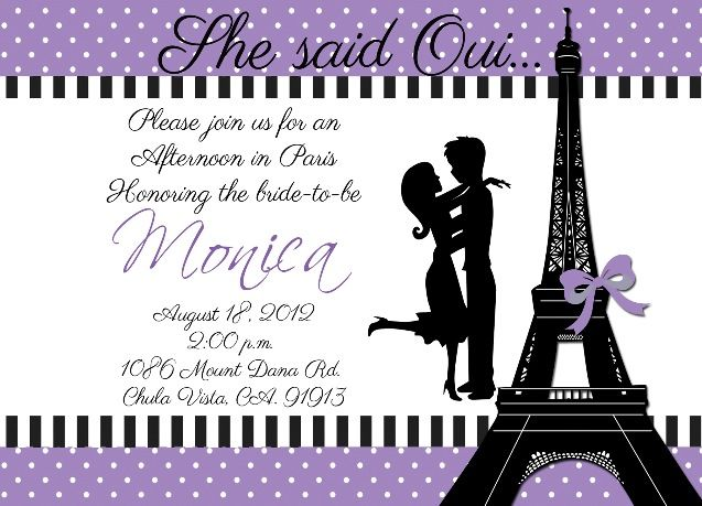 paris bridal shower invitation