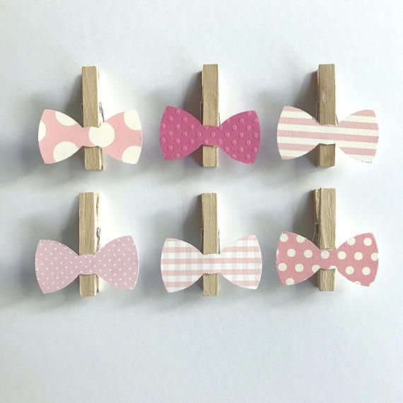 Pink Bows Clothespins Dont Say Baby Clothes pins Tie Bowtie Baby Shower Decoration Game Clips Birthday Wedding Its a Girl Polka Dot Diaper