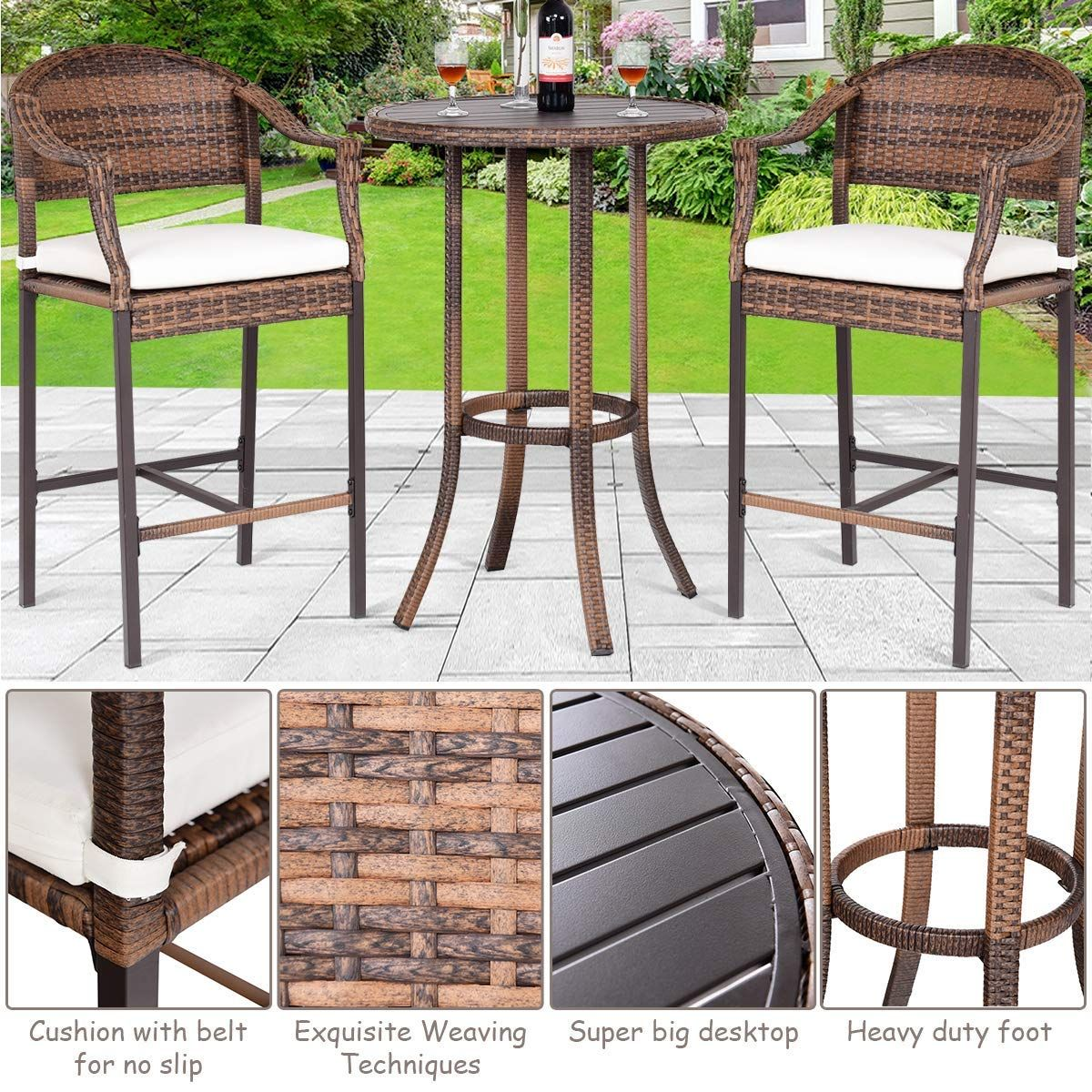 6732493310aa 3-Piece Wicker Rattan All Weahter Durable Poolside Balcony Garden Furniture  Bar Height Outdoor Table and Chairs Set