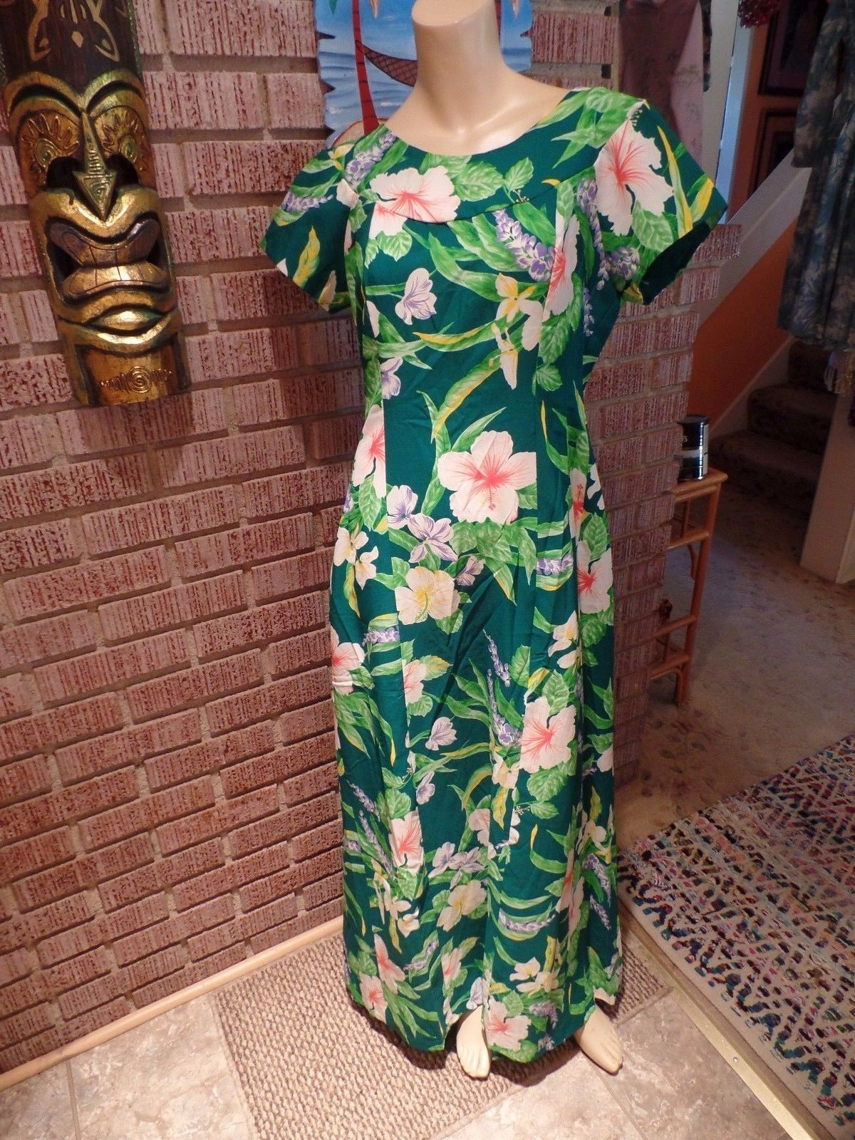 Womens vintage island fashions hibiscus floral back pleats hawaiian sundress polyester regular casual floral dresses for women ebay izmirmasajfo