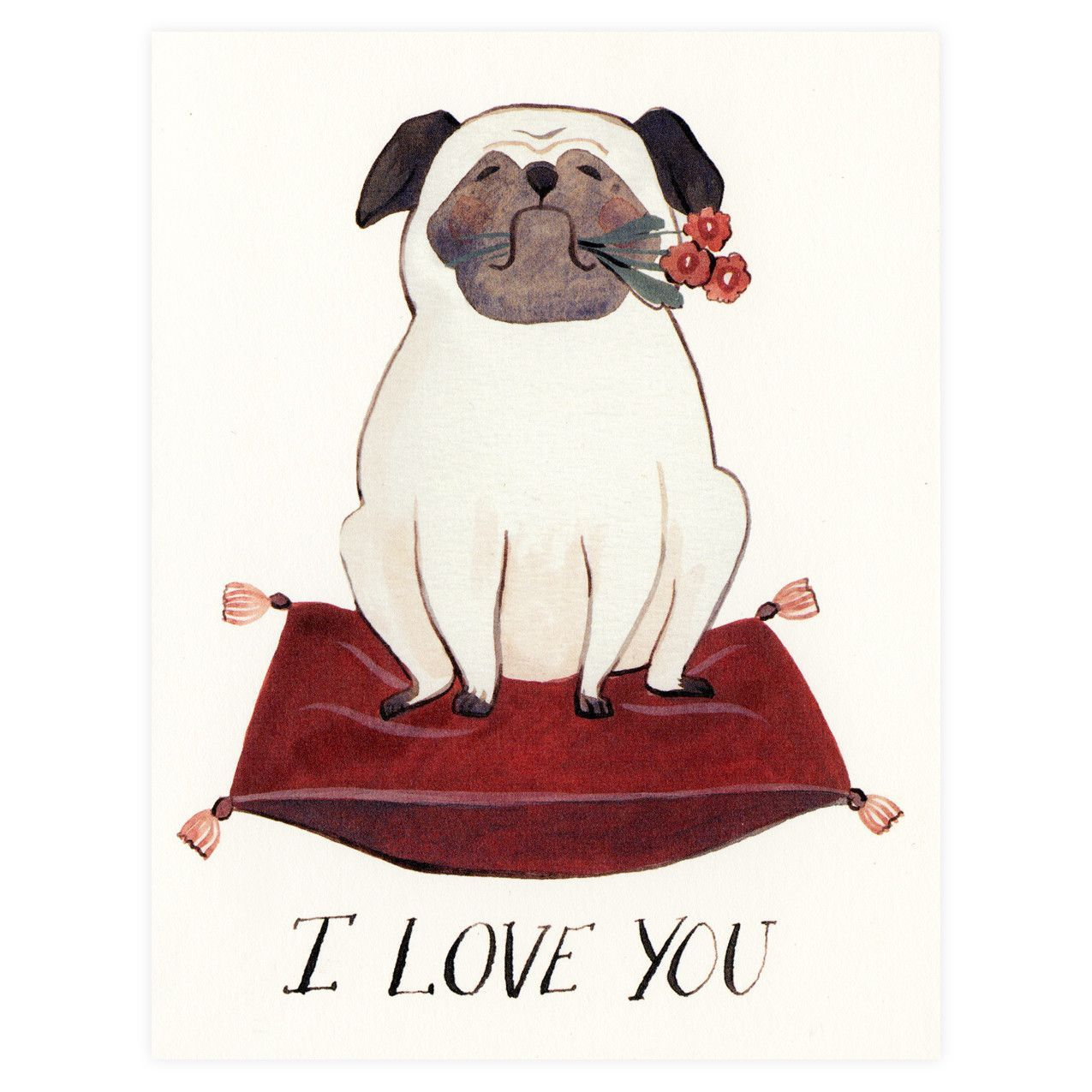 Pug love greeting card dog pinterest