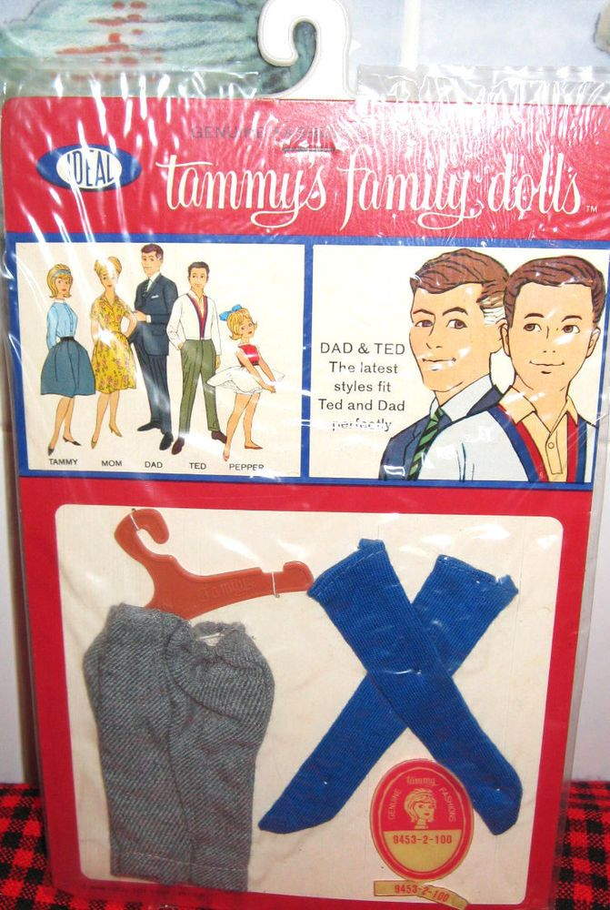 BRAND NEW~SEALED PACKAGE~1963 IDEAL~TAMMY`S DAD/&TED **Sweater+Socks**JAPAN~MINT~