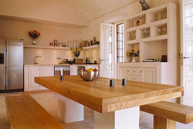 Villa Santoro, Puglia, marble and oak dining table by jdabney01, via