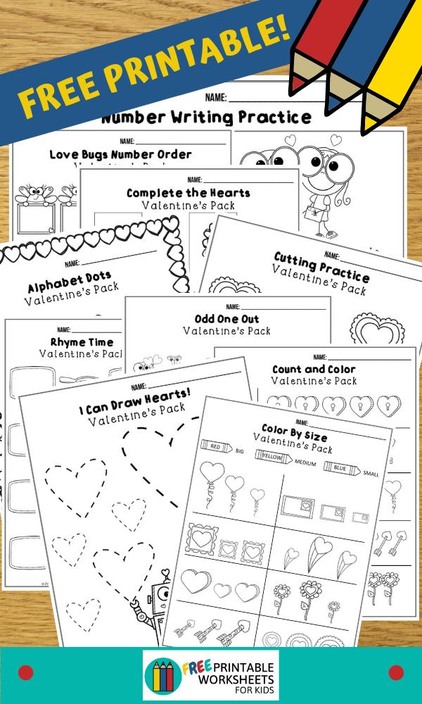 Valentines Printable Worksheets Pack In 2020 Kids Worksheets Printables Worksheets For Kids Printable Worksheets