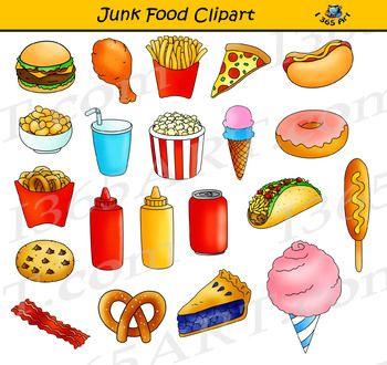 Junk Food Clipart Set in 2020 | Food clipart, Clip art ...