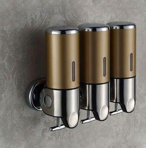 Wall Mounted 3 Heads Liquid Soap Dispenser Shampoo Lotion Box