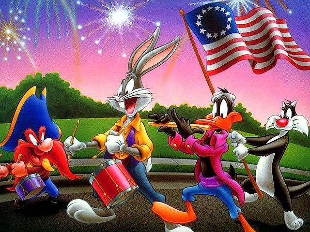 Looney Tunes Bugs Bunny And Friends On 4th Of July Parade Looney Tunes Wallpaper Looney Tunes Characters Looney Tunes Cartoons