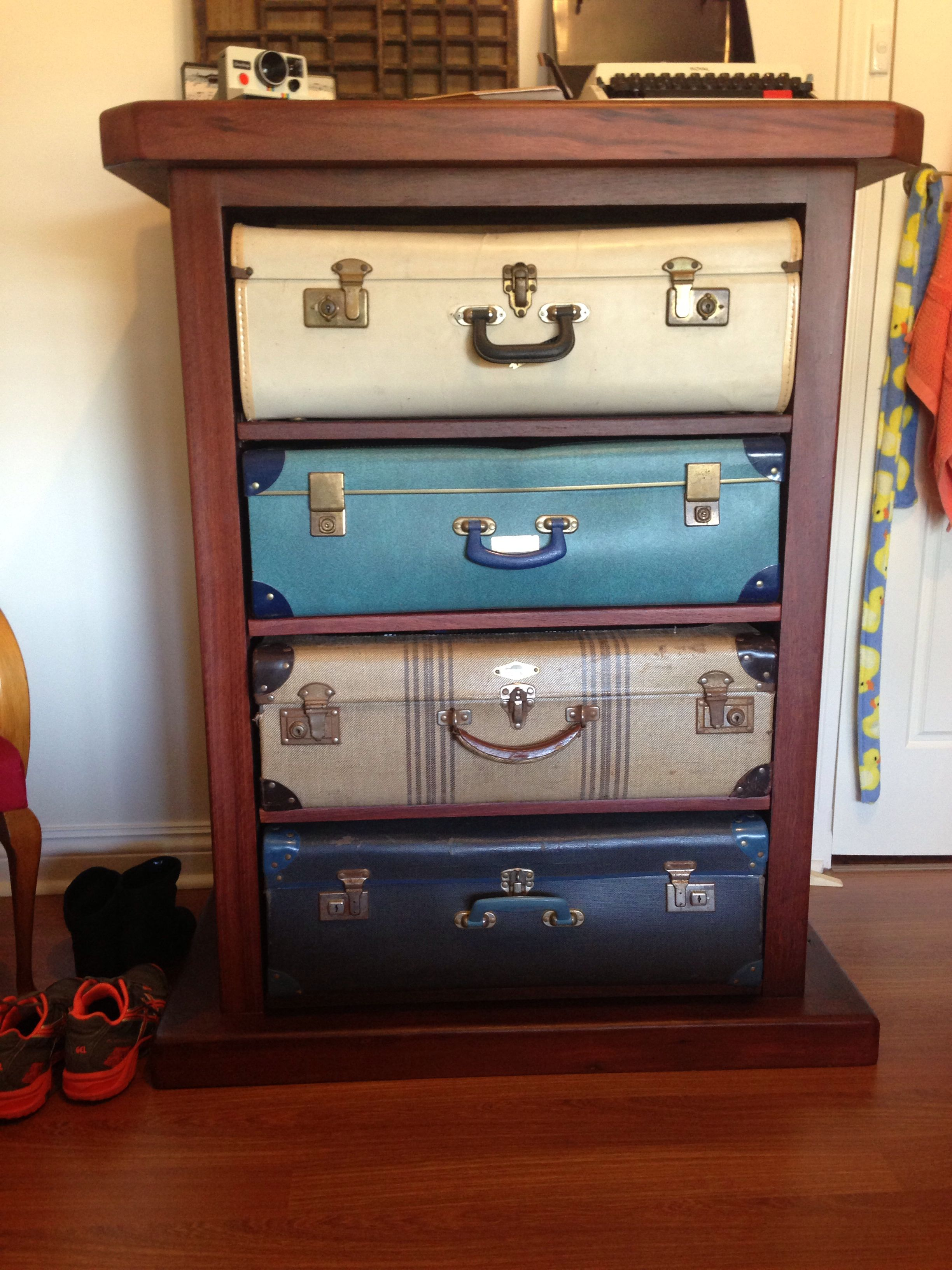 Chest of drawers made from vintage suitcases DIY