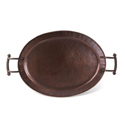 gg collection hammered metal antique copper large oval tray with handles shop www