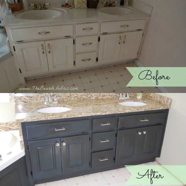 before and after of bathroom vanity makeover by the bearded iris using annie sloan chalk paint - Painted Bathroom Cabinets Before And After