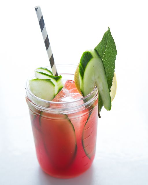 Cucumber & Watermelon Vodka Cooler With Lime Syrup