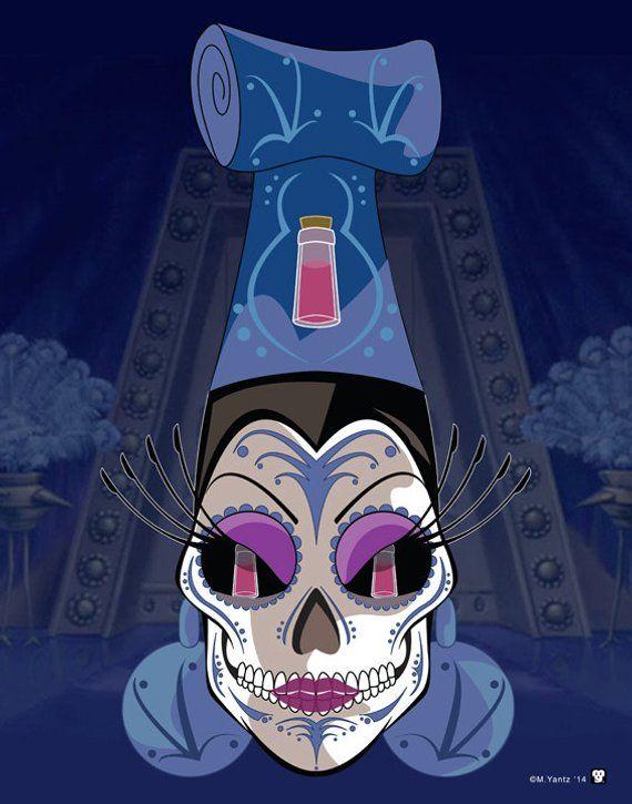 Read the full title Yzma Disney Villains Sugar Skull Print 11x14 print