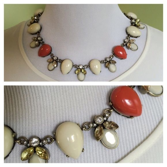 Cabochon Statement Necklace Beautiful statement necklace from Sabine in cream and coral. Worn once - like new condition. Sabine Jewelry Necklaces
